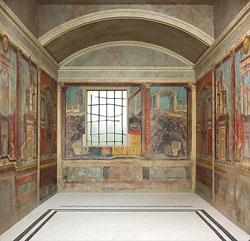 Photographie d'une vue d'ensemble de la chambre de la villa Boscoreale