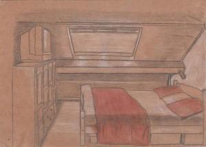chambre du chalet réalisée aux trois crayons