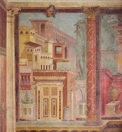 Photographie d'un détail de la chambre de la villa Boscoreale