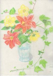 fleurs-jardin-dessin-crayons de couleurs-vase