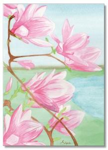 Fleurs de Magnolias à l'aquarelle