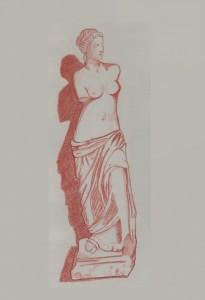 Dessin de la célèbre Vénus de Milo, réalisée à la sanguine