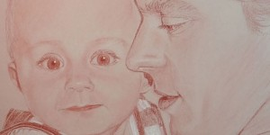 portrait d'un bébé et de son papa - sanguine