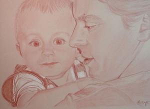 bébé et papa, réalisé à la sanguine