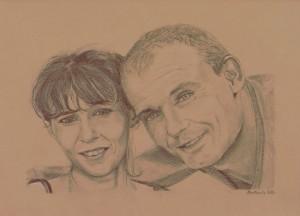 Portrait d'un couple amoureux réalisé par Salomée à la sanguine