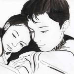 Portraits d'enfants à l'encre de Chine