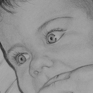 Portrait de bébé au fusain
