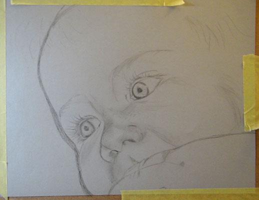 étape au traits de bébé au fusain par Salomée