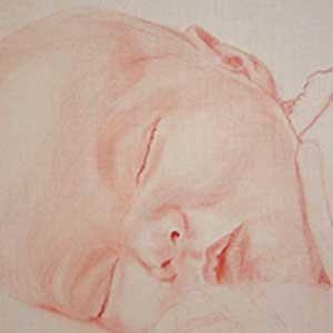 Détail du portrait de bébé à l'huile