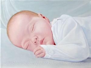 Cheveux de bébé peinture à l'huile