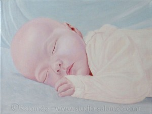 Peinture à l'huile : bébé : couche 4