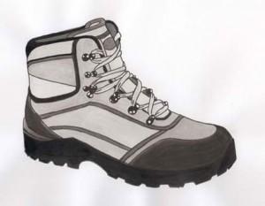 chaussure à l'encre de chine