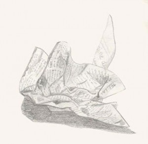 Croquis d'une feuille de journal froissée, réalisée au crayon graphite