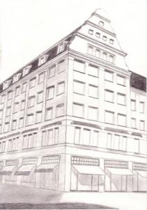 Paysage urbain : deuxième image de la réalisation du dessin de l'immeuble