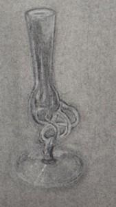 vase dessiné à la gomme sur fond de fusain