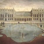 Le château de Versailles vu des jardins en 1675. Façade ouest. La terrasse entre les deux corps de bâtiments sera remplacée dès 1678 par la Galerie des Glaces.