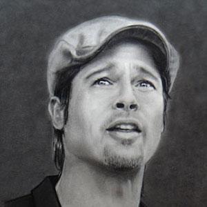 Brad Pitt réalisé au fusain par Salomée
