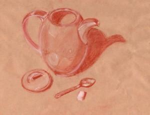 Croquis à la sanguine d'une cafetière, cuillère et sucre