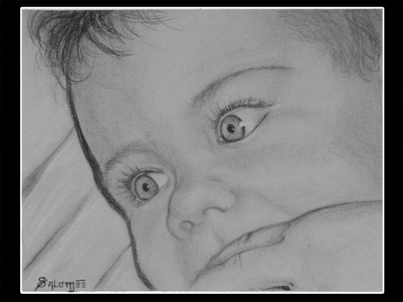 Portrait d'un bébé au fusain
