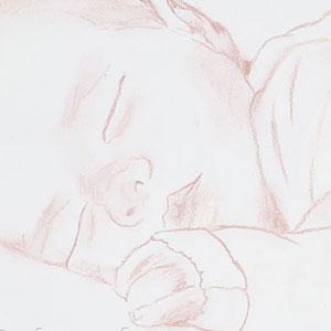 détail de la peinture à l'huile Kira : bébé