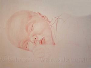 2eme phase du portrait de bébé à l'huile