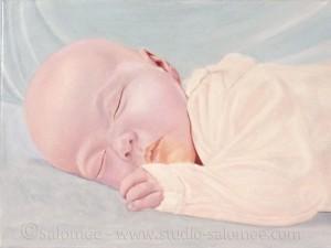 Peinture à l'huile : bébé : couche 3