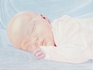 Peinture à l'huile : bébé : couche 2