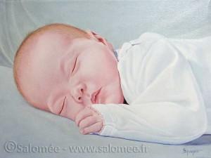 Portrait à l'huile - bébé - Salomée